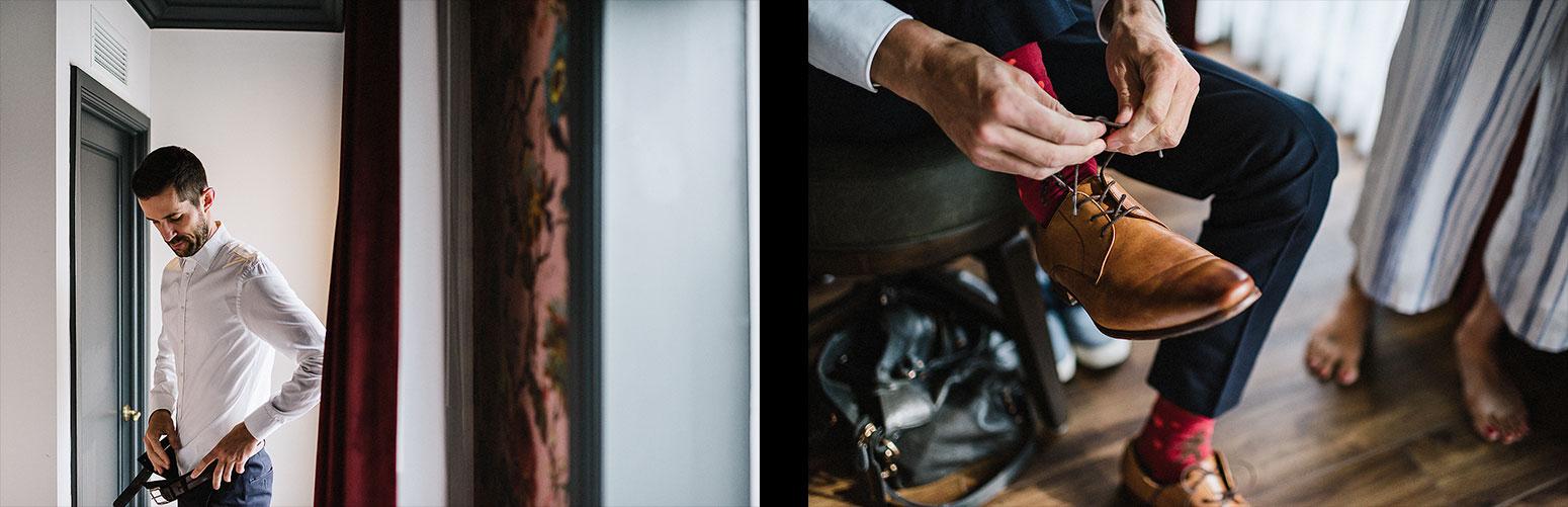 18-spread-513-Toronto-Wedding-at-the-Broadview-Hotel-Vintage-Bride-and-Groom-Wedding-Details-Old-School-Telephone-Best-Wedding-Photographers-Toronto-Junebug-Weddings-Candid-Genuine-Moments-Groom-getting-ready-funky-socks.jpg