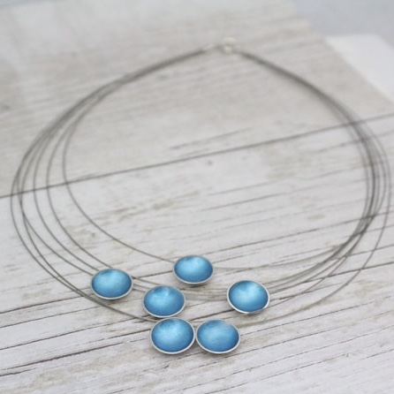 Silver and Turquoise Enamel Necklace