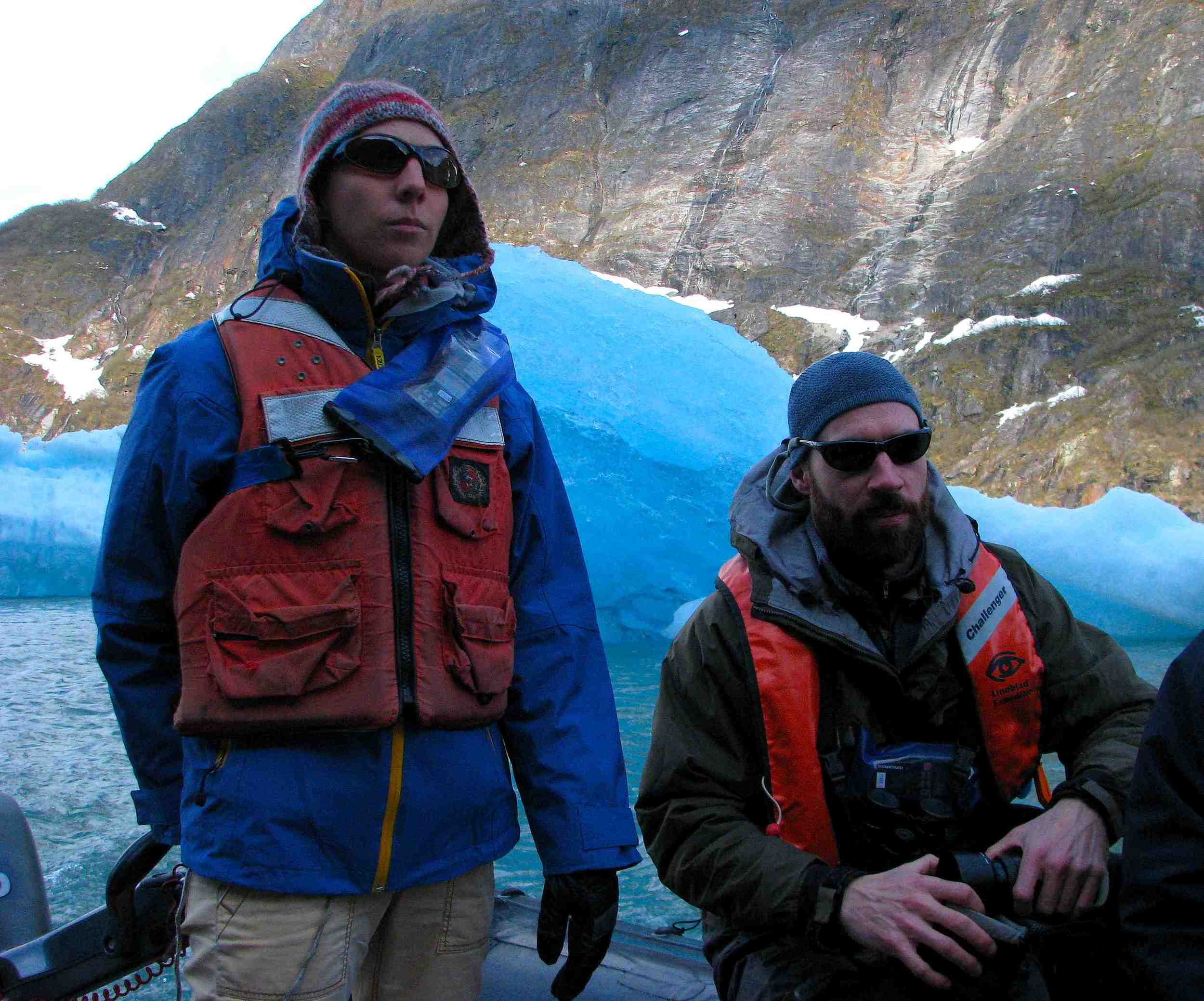 Jen and Doug among the blue icebergs of Southeast Alaska. Photo: Laura Ivill
