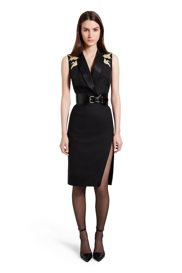 Structured Dress with Crane Embroidery, $50