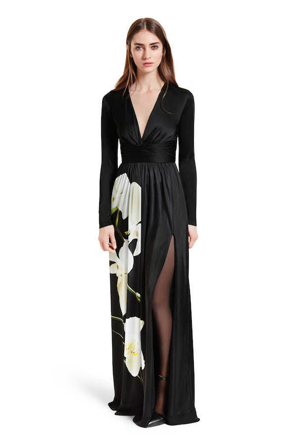 Maxi Dress in Black Orchid Print, $70