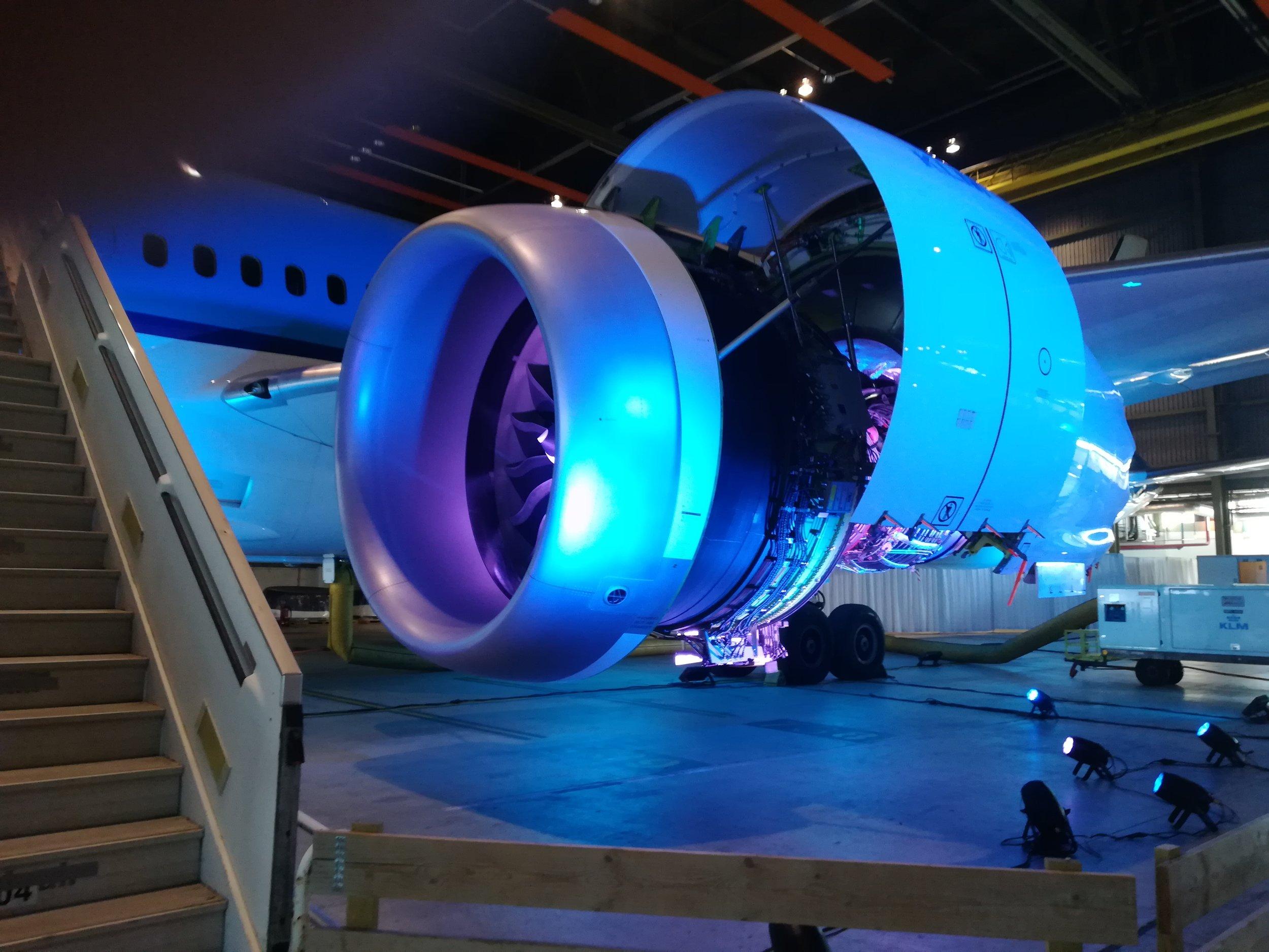 De vliegtuigmotor.
