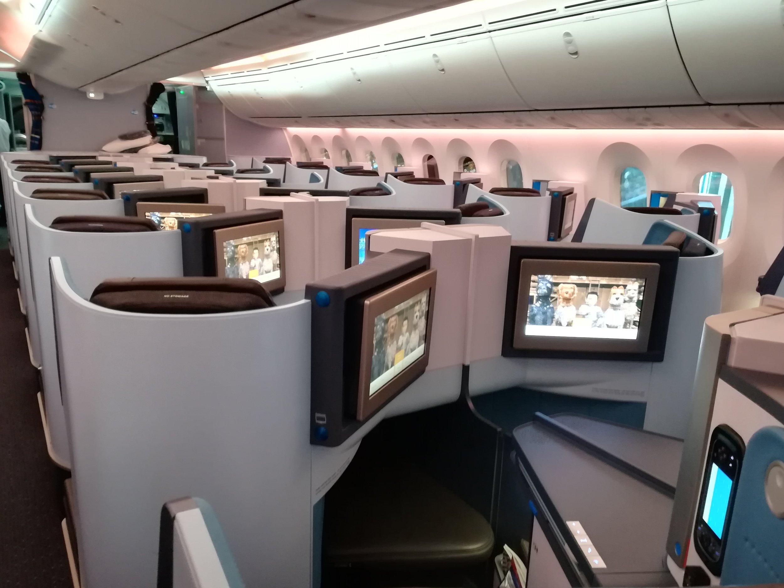 De Business Class van de Boeing 787.