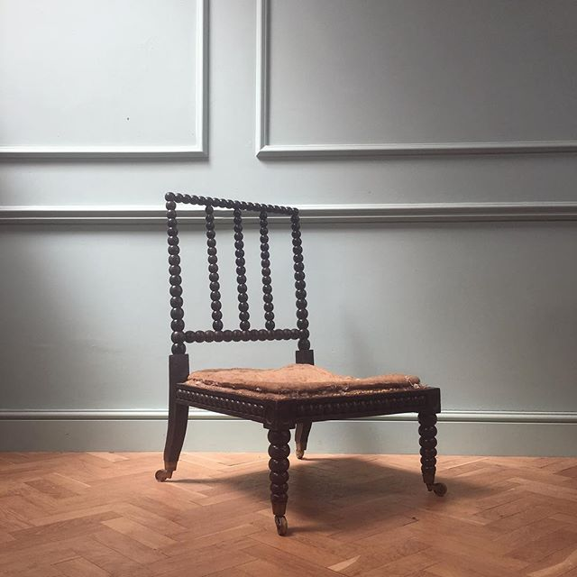 A very large ebonised Morris and co bobbin chair #newstock