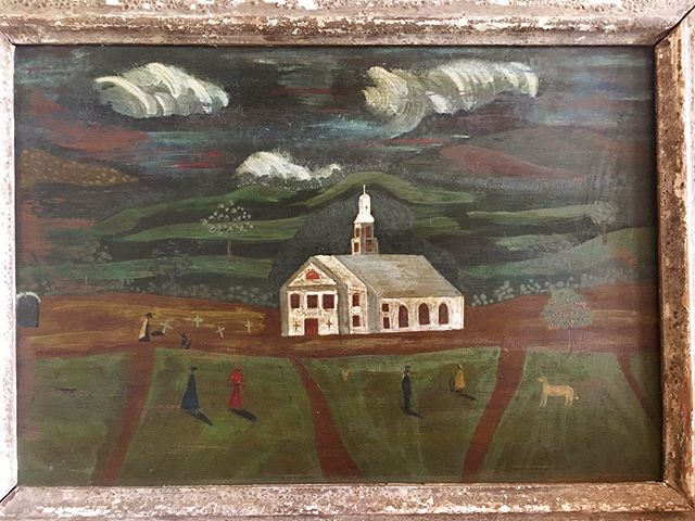 19th century folk painting - A faint ladder leaned against a single apple tree is one of many charming details depicted by the anonymous artist #newstock