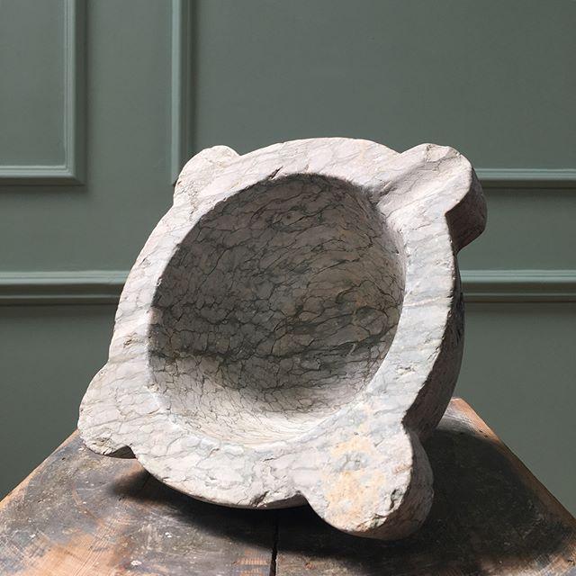 19th century green veined marble mortar #newstock
