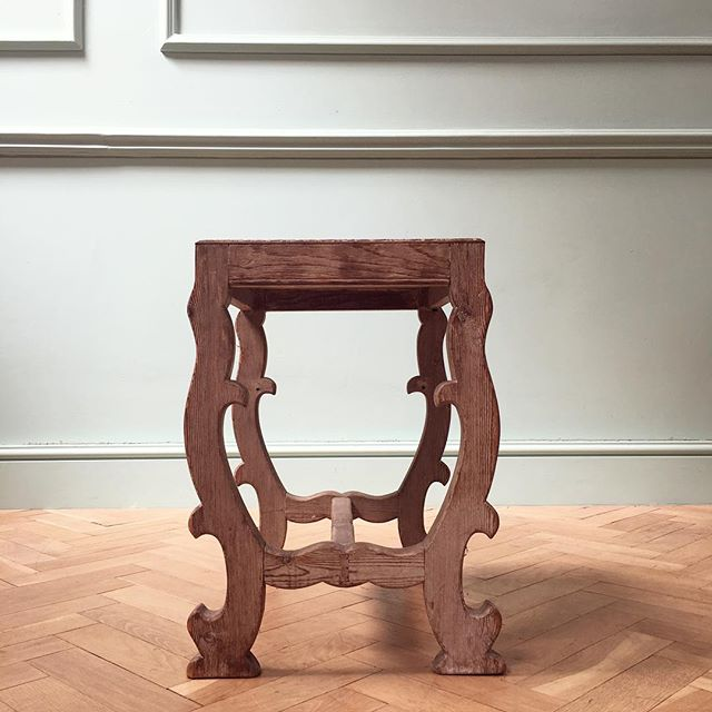 Limed oak arts and crafts table or high stool, Tuscan inspired legs to match the weather #newstock #heatwave