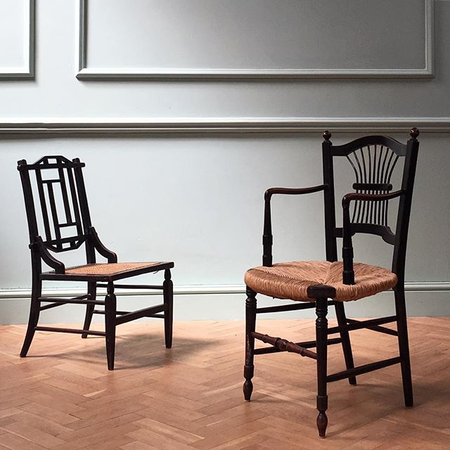 Ebonised Anglo-Japanese side chair with caned seat #newstock