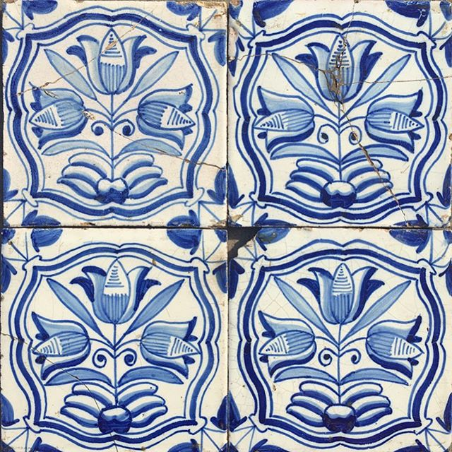 18th century Delft tile panel with flowering tulips #newstock