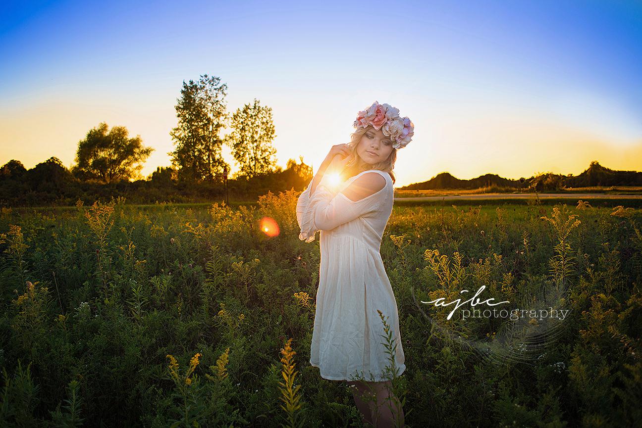 beautiful golden hour senior photoshoot girl in field senior girl in gorgeous dress michigan senior photographer.jpg