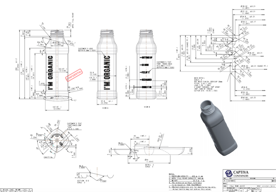 1. DESIGNING & ENGINEERING  Captiva's team transforms customers' concepts into industrial designs, ready for manufacturing. We'd love to turn your dream bottle into reality!