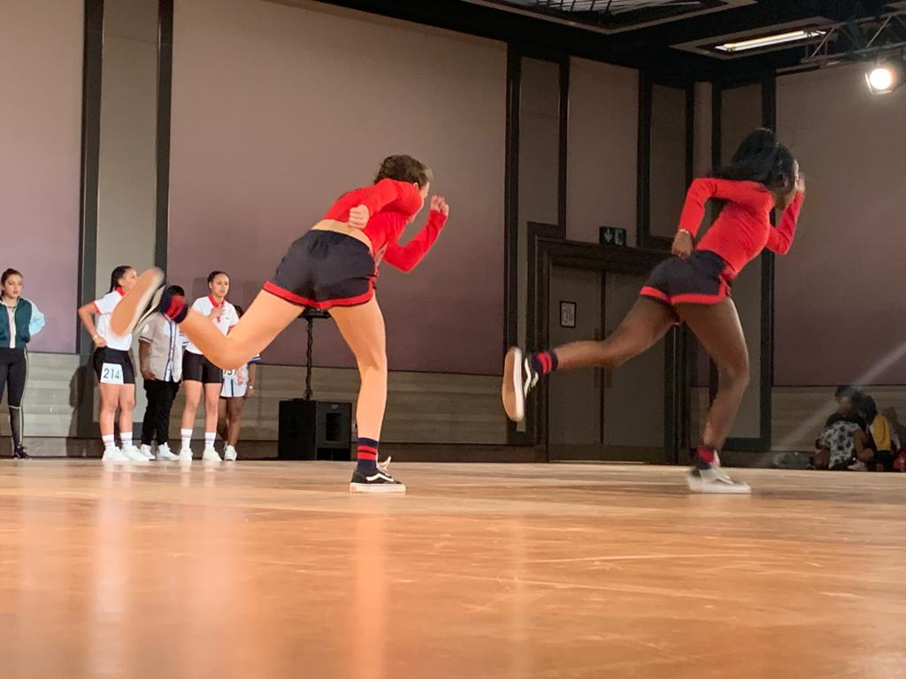 Action shot of Sam and Babs who placed 2nd for their Hip Hop duo.