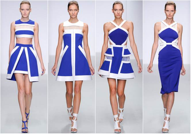 Gorgeous color blocking in bold blues!  A modern flair that not only catches the eye but accentuates any figure!      Source:  www.tipitgirls.com