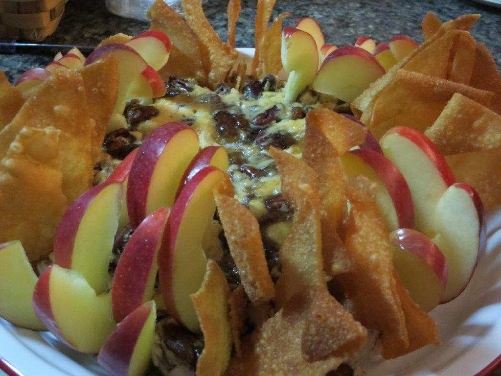 Cheddar Chutney Cheesecake, served with fried won tons and apple wedges..jpg
