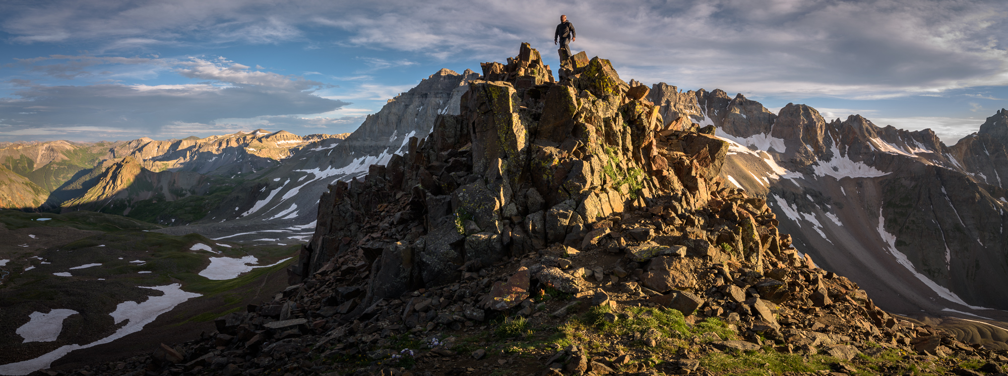 Joseph above Blue Lakes Pass at over 13,000 feet in the San Juan Mountains of Colorado
