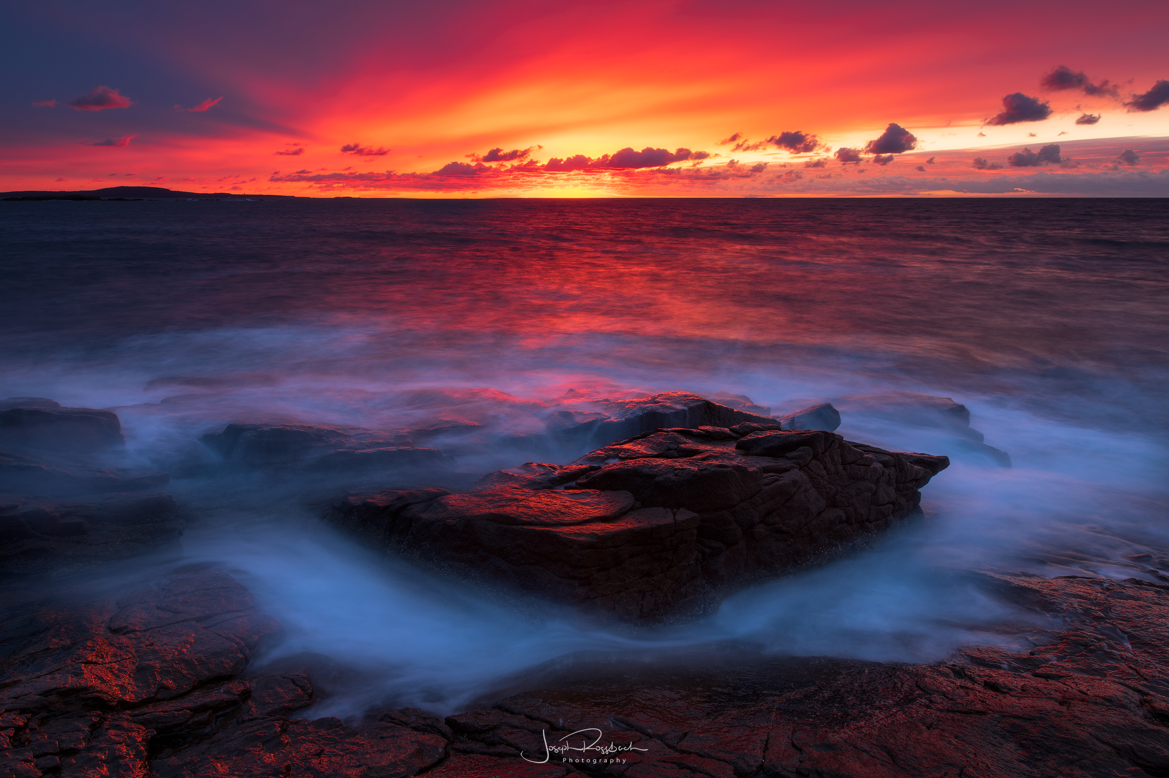 Red Dawn, Acadia National Park, Maine  Nikon D850, 14-24mm, Really Right Stuff Tripod