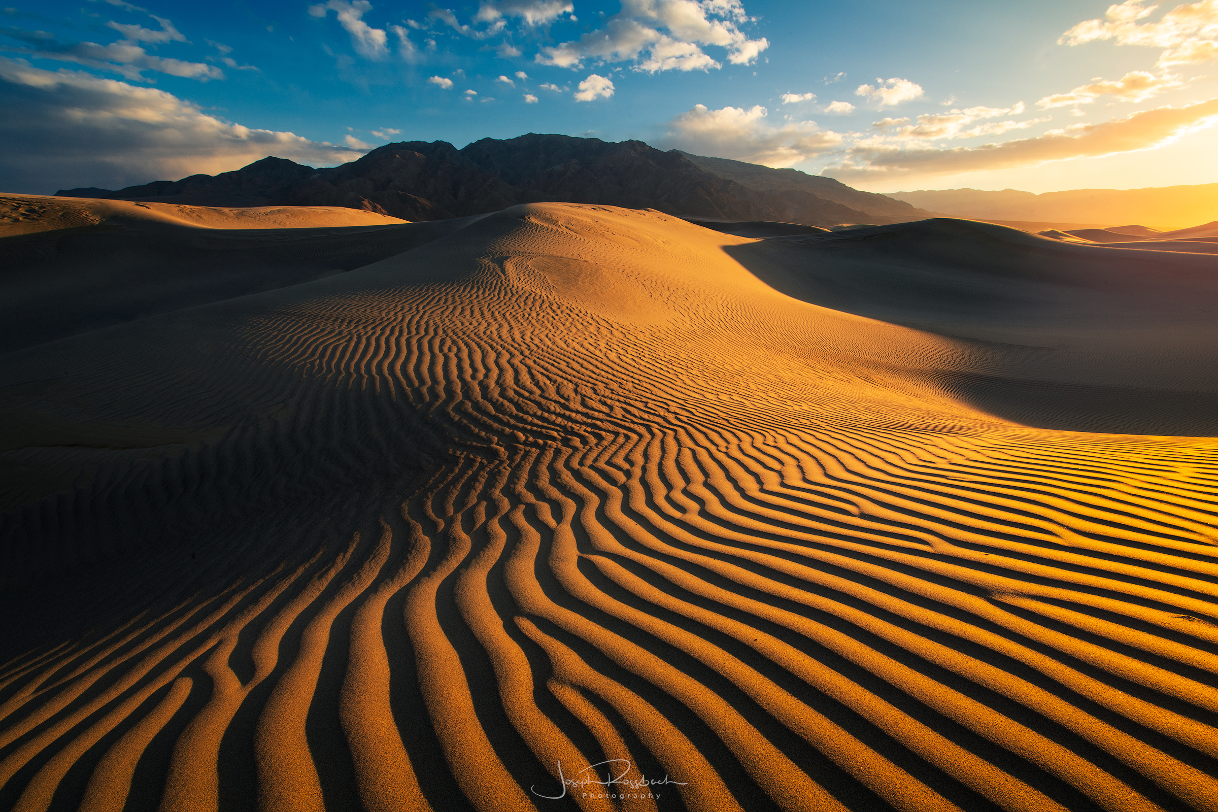 Rippled Sand at Sunset, Mesquite Dunes, Death Valley National Park, California