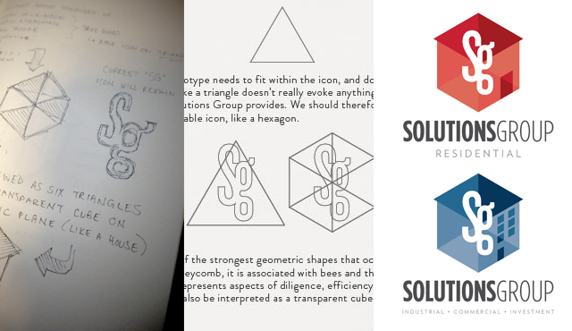 An example of process work for an early identity concept for Sutton Solutions Group