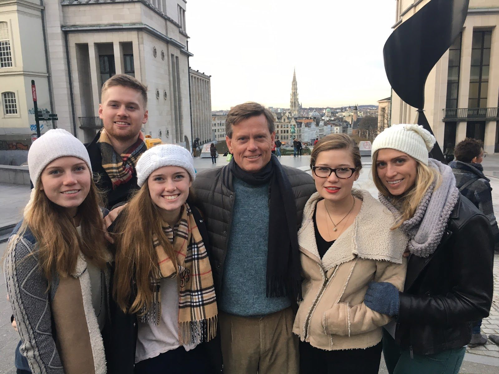 Lawson Pedigo and his five children on vacation in Brussels during Christmas 2015—a destination they chose so they could connect and worship with a CTC-supported church in the city.