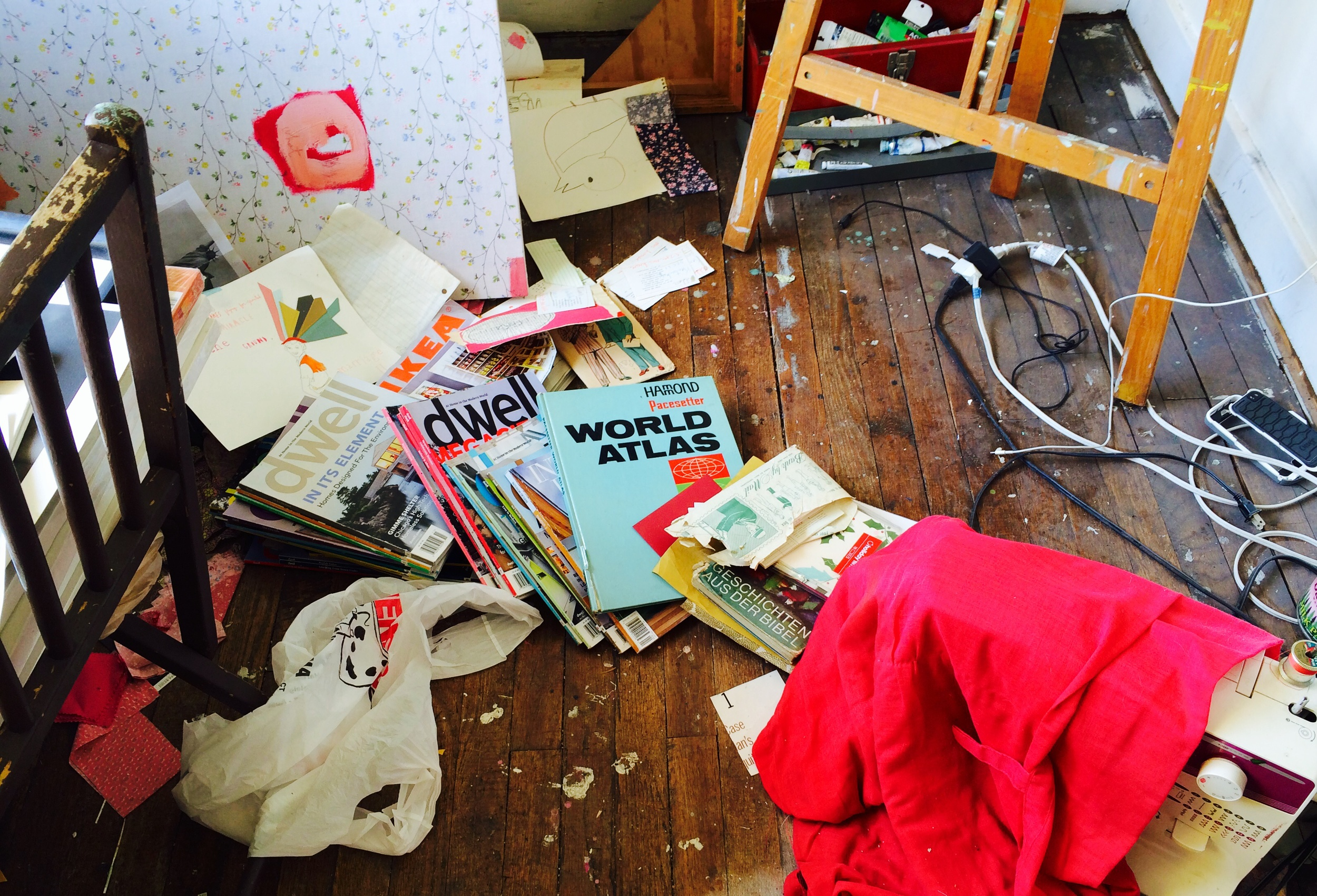 Studio floor. Every time I go, the session ends with a phone call about a baby meltdown. That hasn't left any time for clean up.