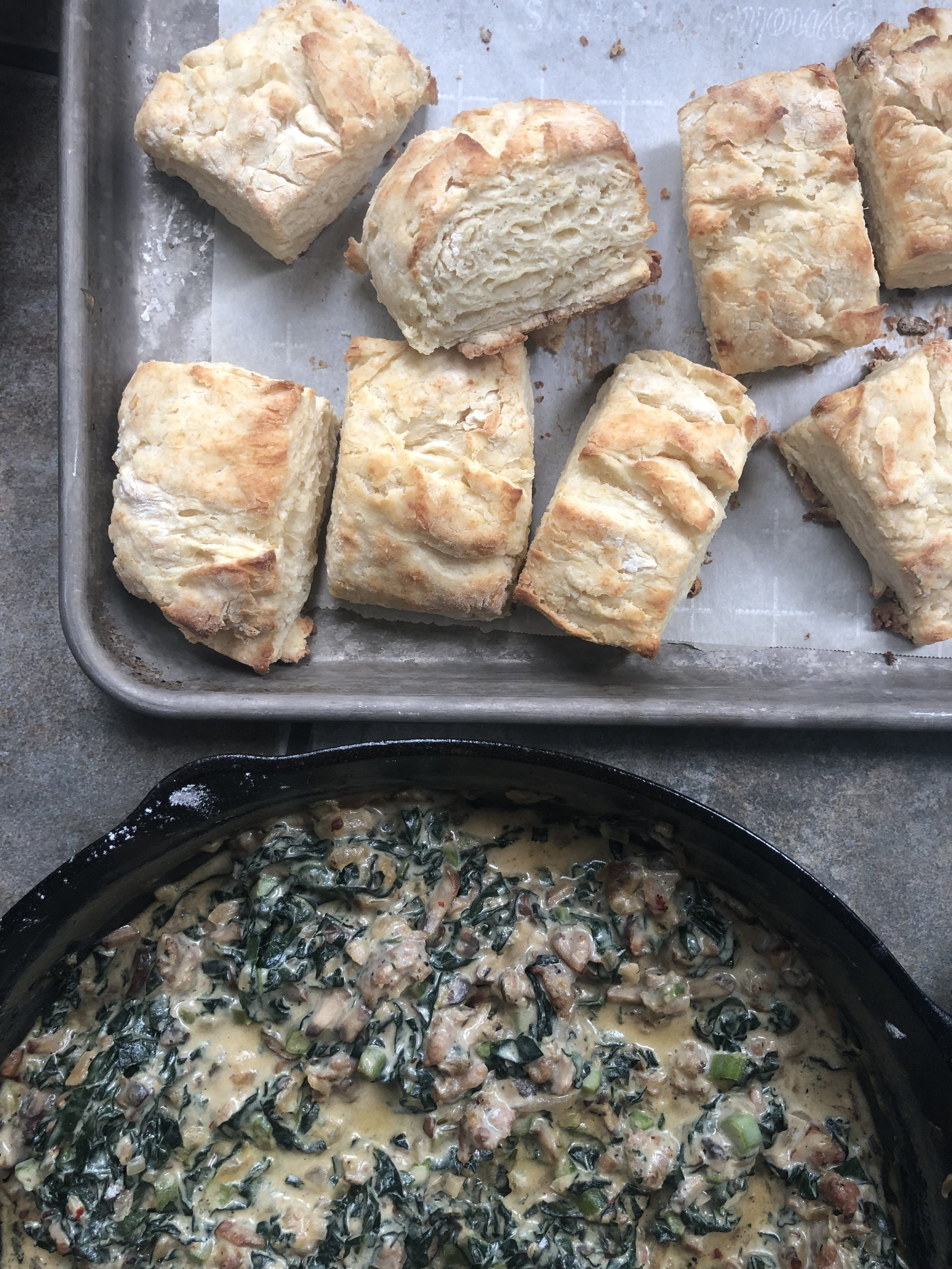 improv. buttermilk biscuits and mushroom, kale and italian sausage gravy.