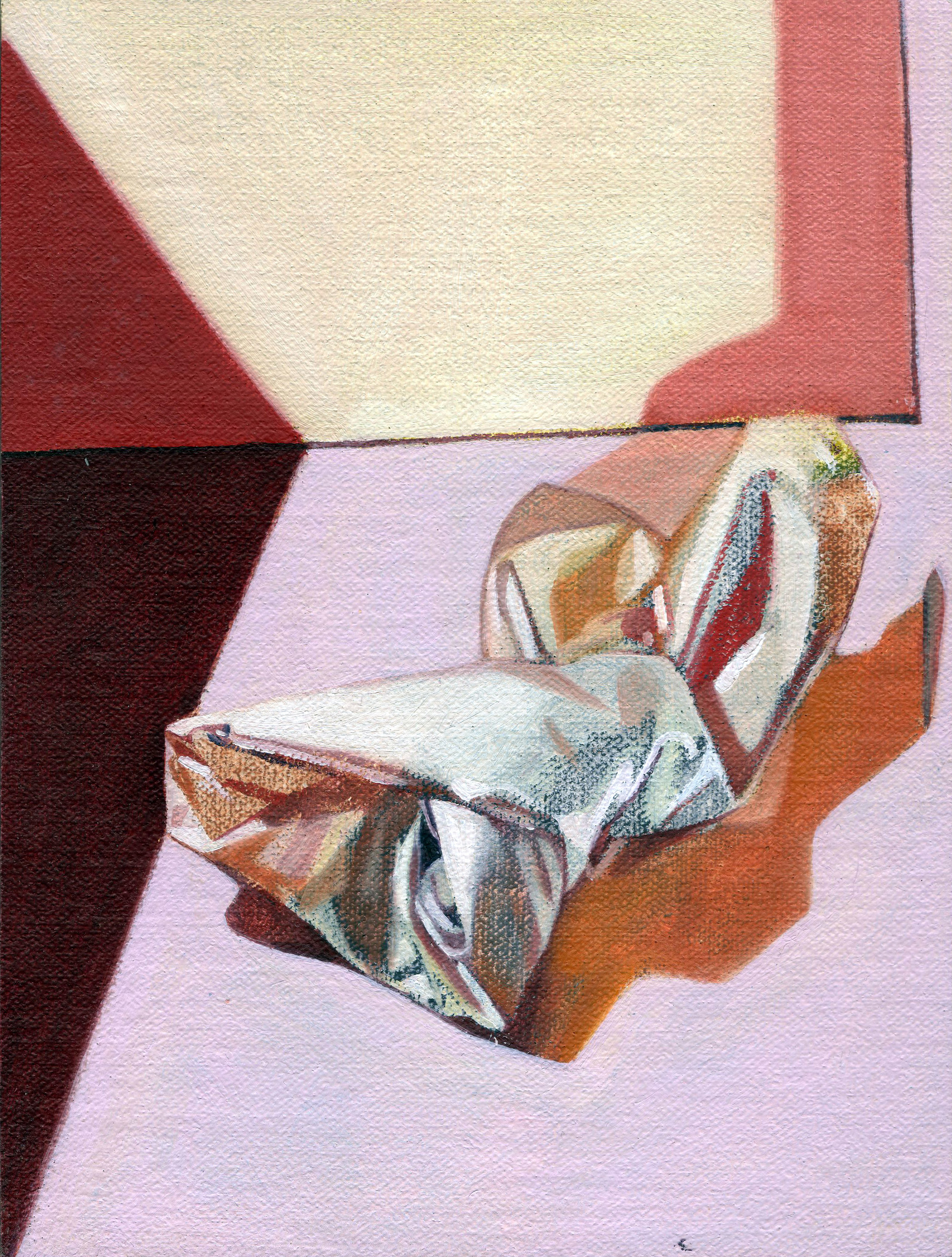 The Hospice (Red), 2014  oil on linen, 8 x 6in.