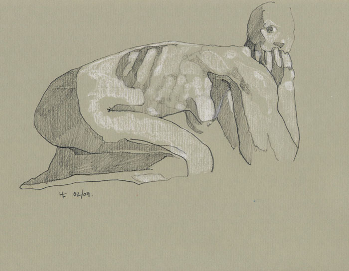 Nude, 2009, pencil and chalk on paper, 21 x 29.5cm.