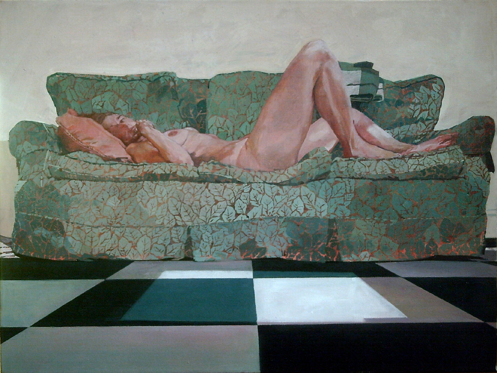 The Green Sofa, 2008-9, oil on canvas, 18 x 24in.