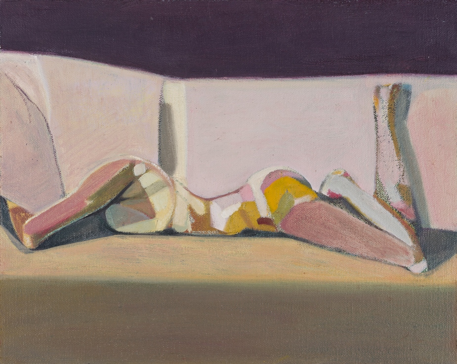 Headless Nude (Lying, Pink/Purple) , 2014-15, oil on linen   on board, 8 x 10in