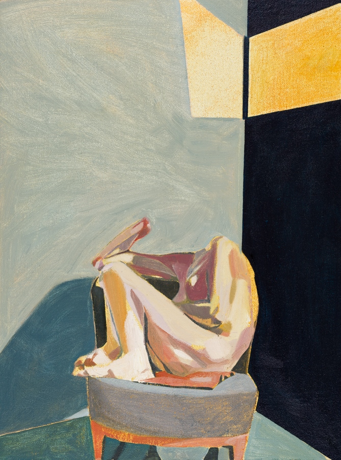 Headless Nude (Seated, Blue, Yellow Light), 2015, oil on linen on board, 16 x 12in