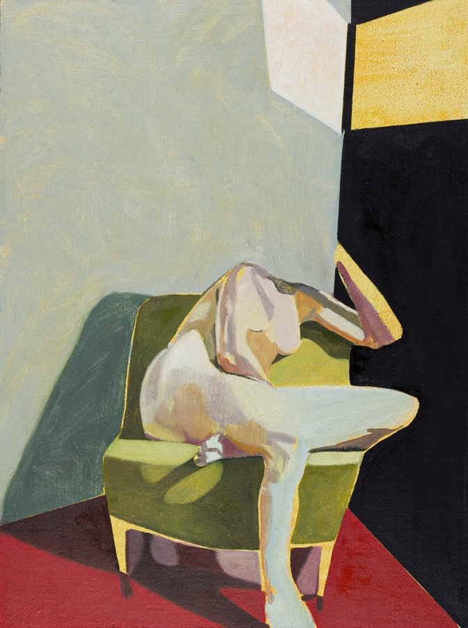 Headless Nude (Seated, Red/Black, Yellow Light) , 2015, oil on linen   on board,   16 x 12in