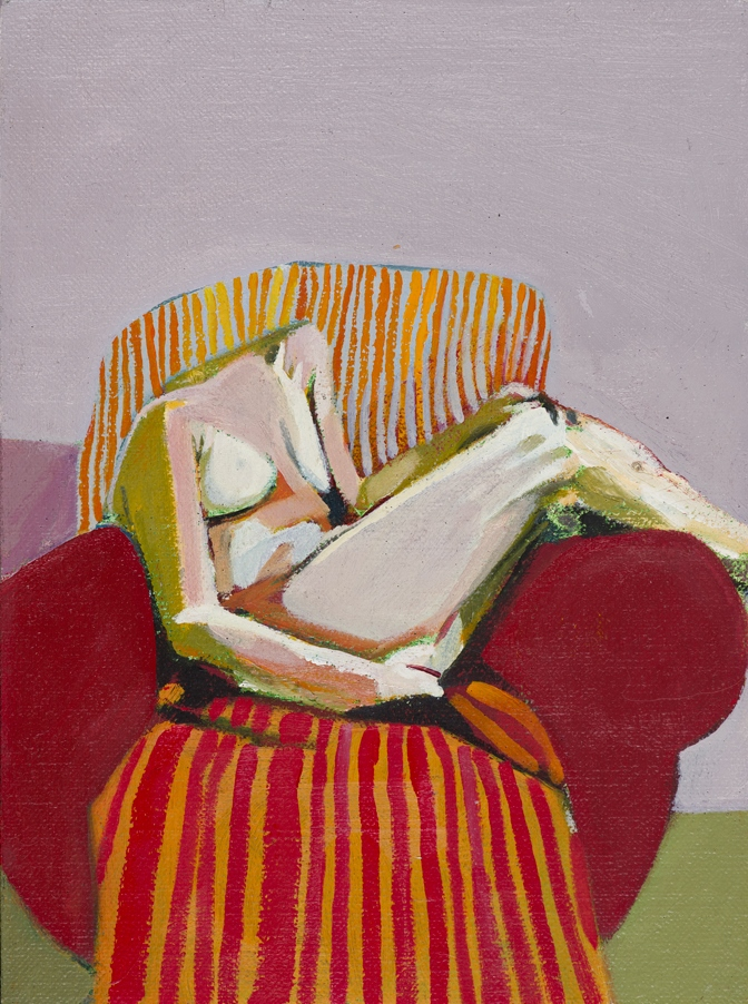 Headless Nude (Seated, Red Stripes) , 2014-15, oil on linen   on board, 8 x 6in