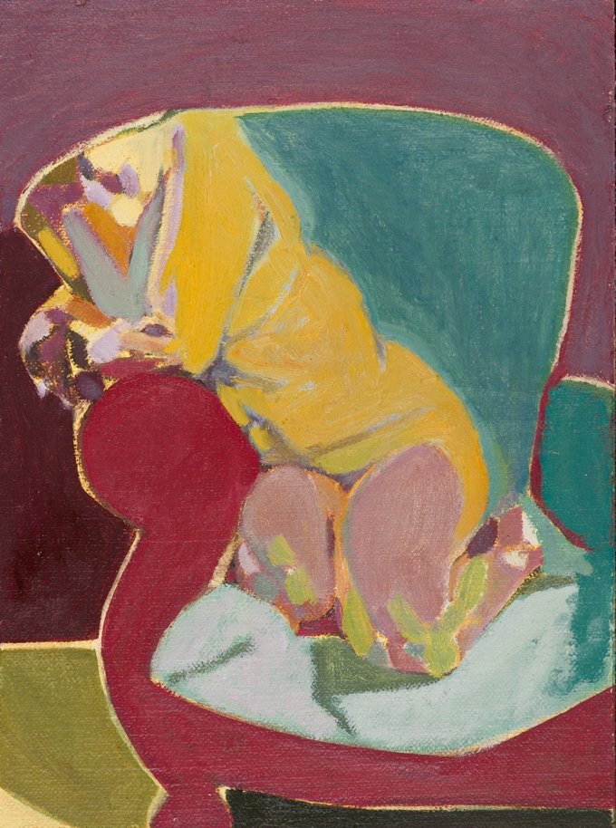 Headless Nude (Seated/Kneeling, Purple/Mauve/Blue) , 2015, oil on linen   on board, 8 x 6in