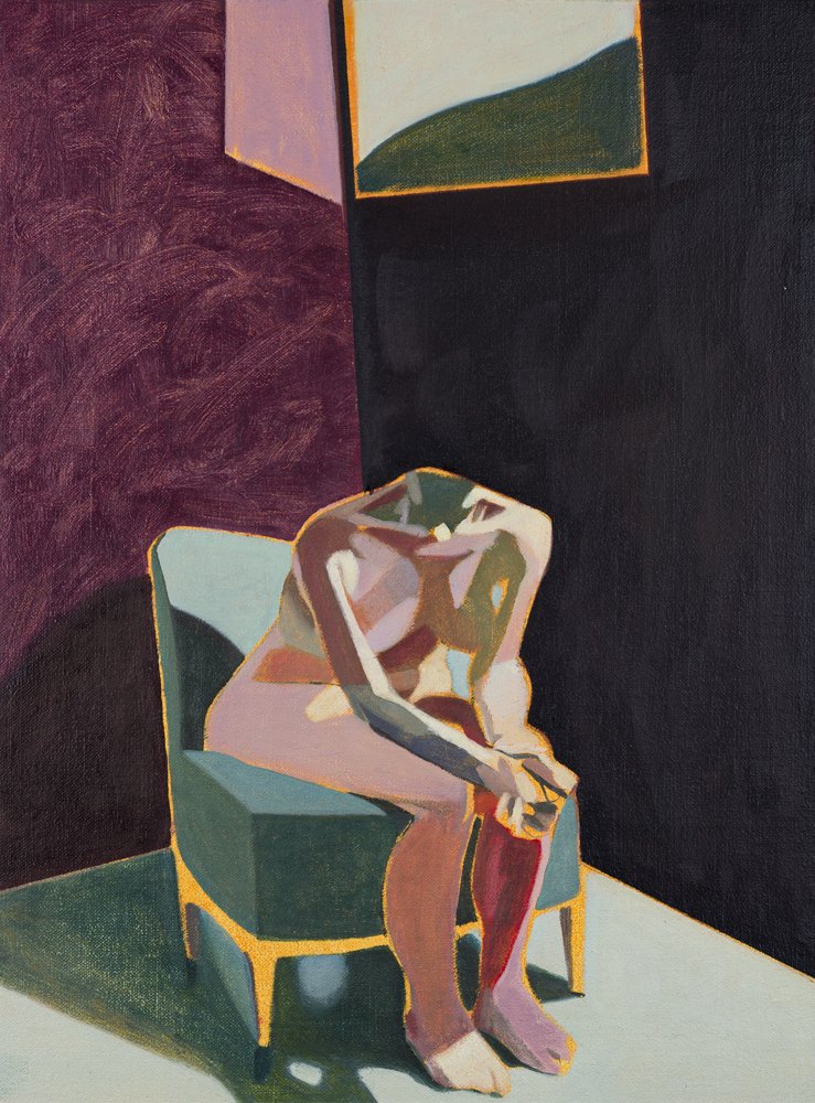 Headless Nude (Seated, Crimson/Dark Blue, Landscape), 2015, oil  on linen on board, 16 x 12in