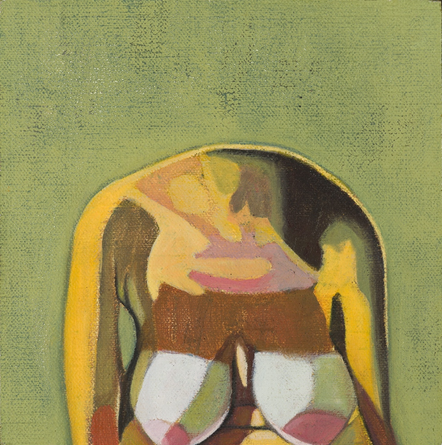 Headless Nude (Self, Green), 2014, oil on linen on board, 6 x 6in