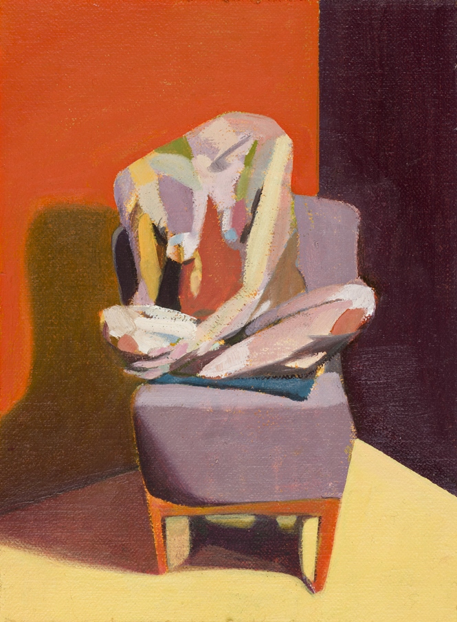 Headless Nude (Seated, Orange/Purple/Yellow), 2015, oil on linen on board, 8 x 6in