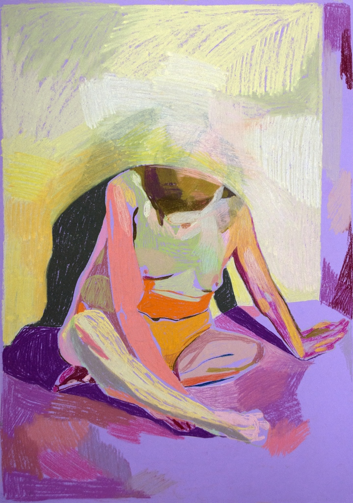 'Nude on Purple', 2018, pastel, 59.4 x 42cm, SOLD  Available from  Partnership Editions