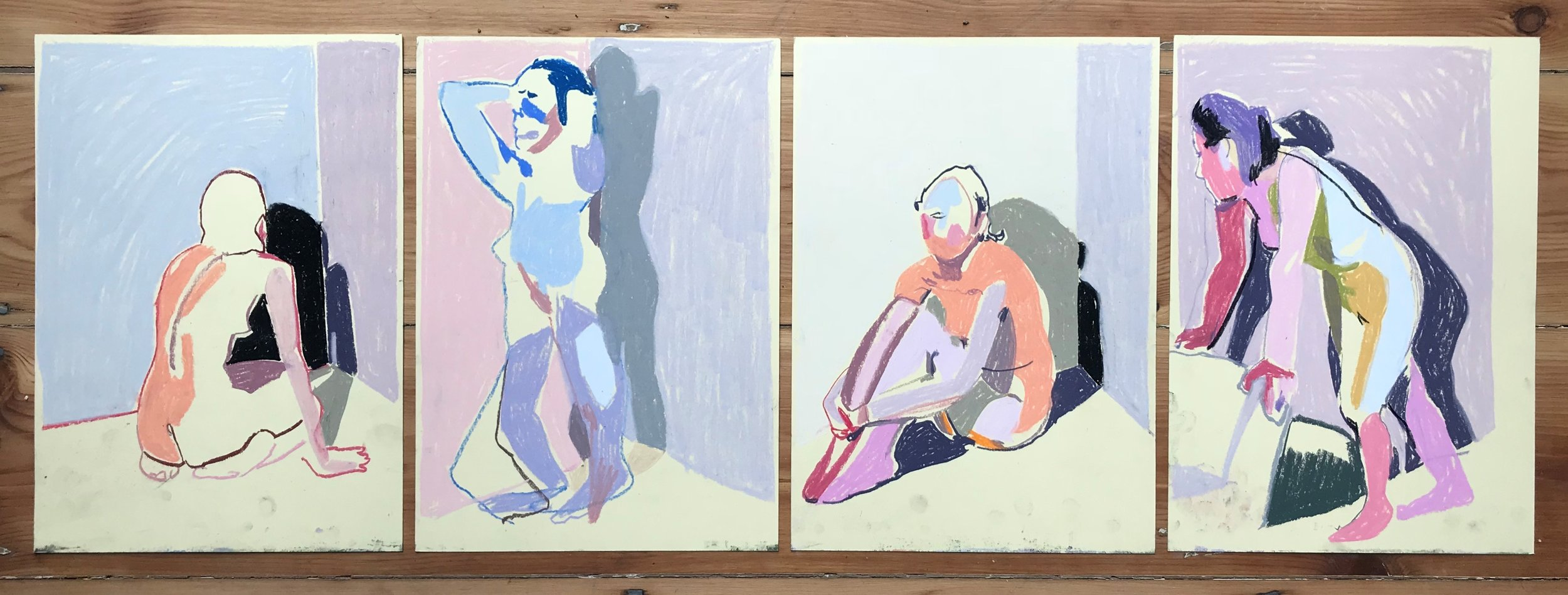 'Sequence of four nudes on soft yellow'', 2018, pastel 29.6 x 21cm each, SOLD  (click to enlarge)