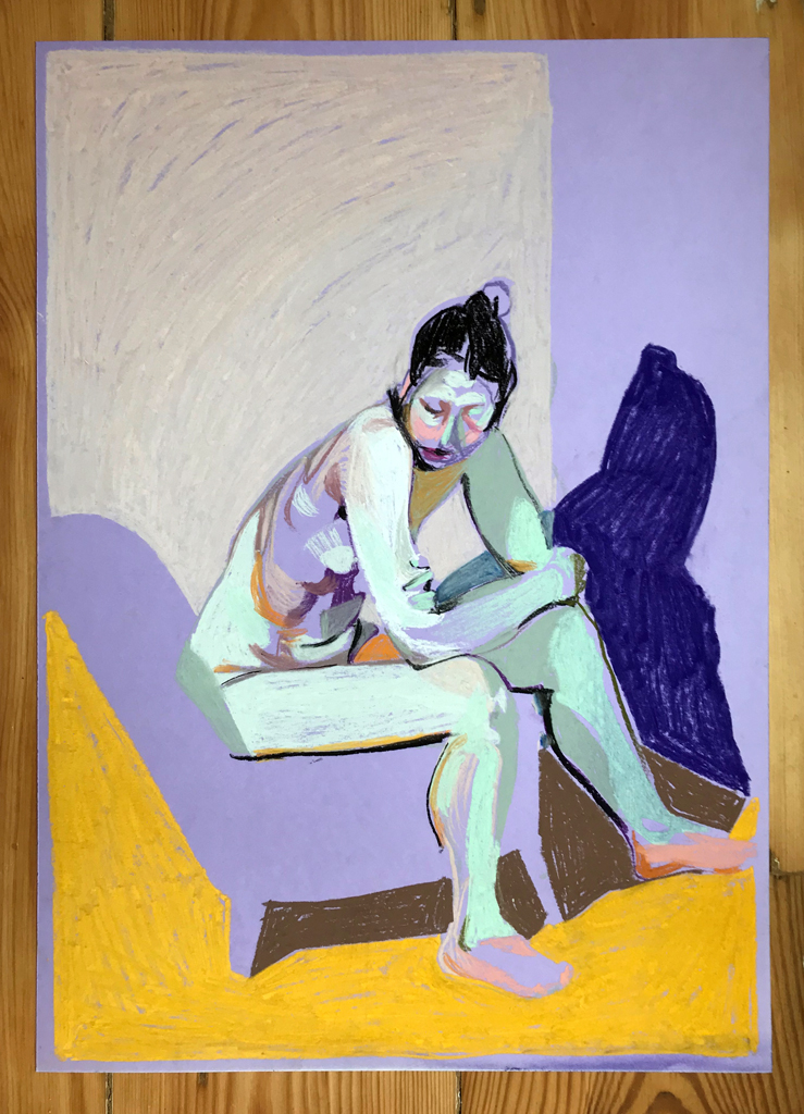 'Nude on purple with yellow ground', 2018, pastel, 42 x 30cm, SOLD