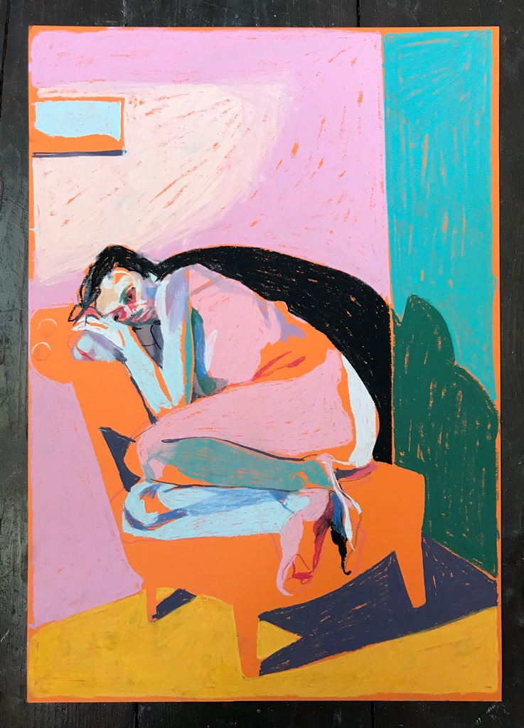 'Nude on orange with window', 2018, pastel, 42 x 39.7cm, SOLD