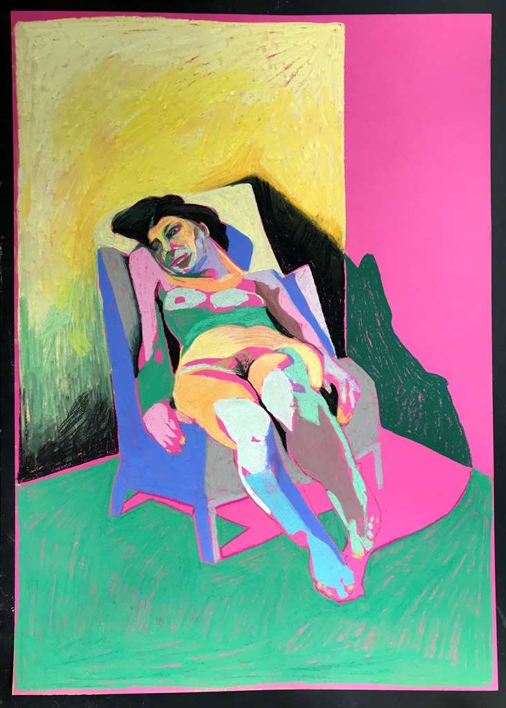 'Nude on pink with green ground', 2018, pastel, 59.4 x 42.1cm, SOLD