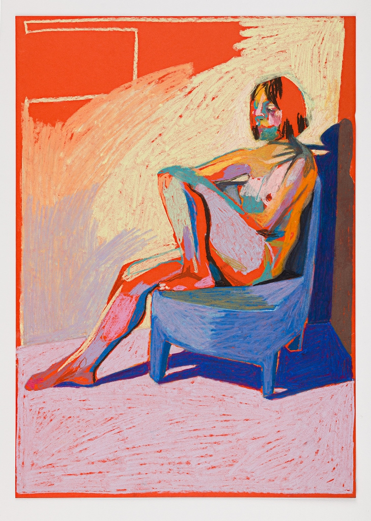 'Nude on orange with blue shadow', 2018, pastel, 42 x 29.7cm, SOLD  Available as a limited edition print from  Liberty London
