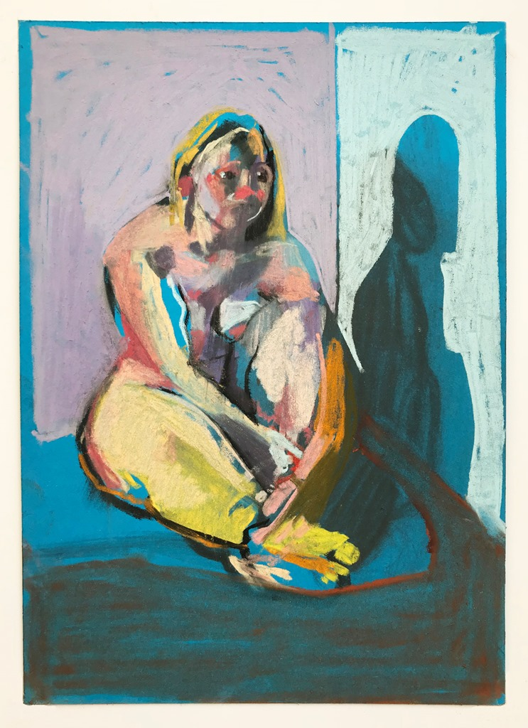 'Nude on blue with mauve wall', 2018, pastel on paper, 21 x 14.8cm, SOLD