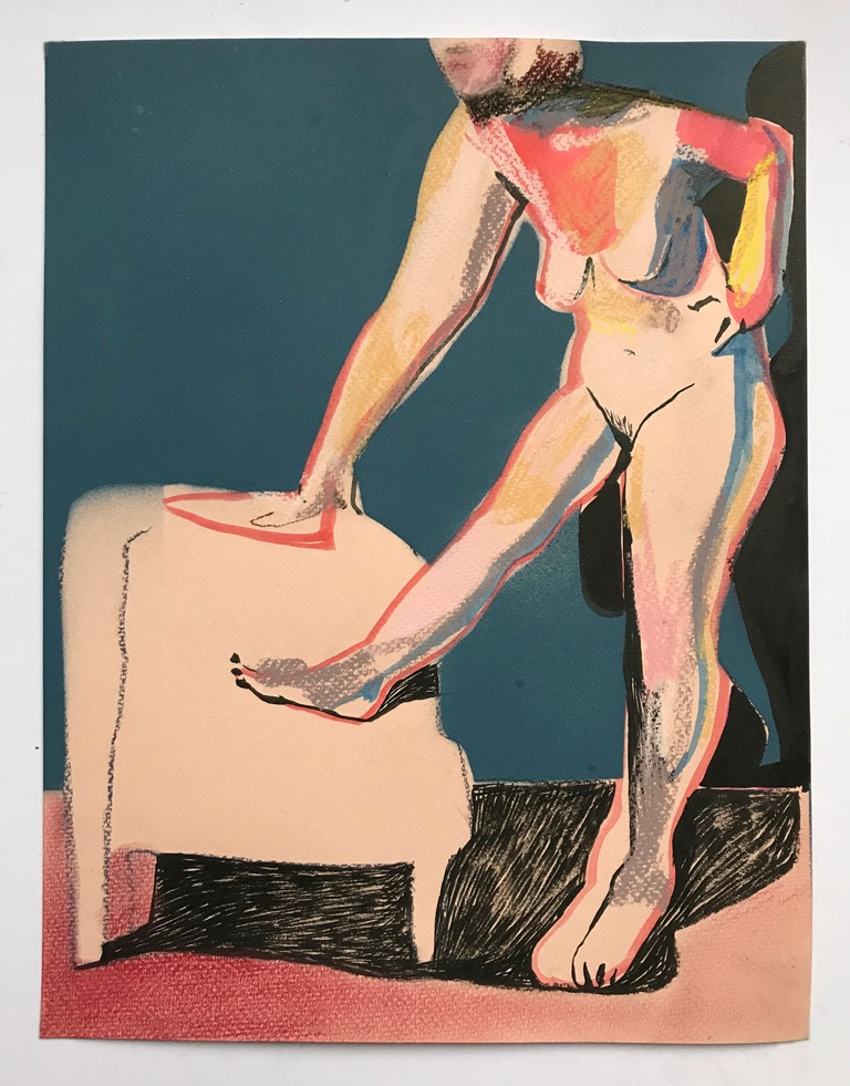 'Nude on pale peach with blue wall', 2018, ink, pastel and spray paint on paper, 32.5 x 25 cm, £550 (framed)  Available from  Partnership Editions