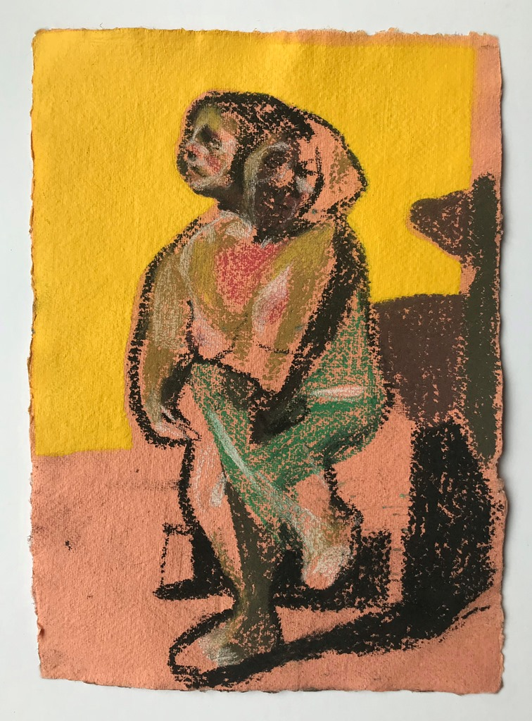 'Nude on peach with yellow wall', 2018, charcoal, pastel and spray paint on paper, 29.5 x 21 cm , £350  Available from  Partnership Editions