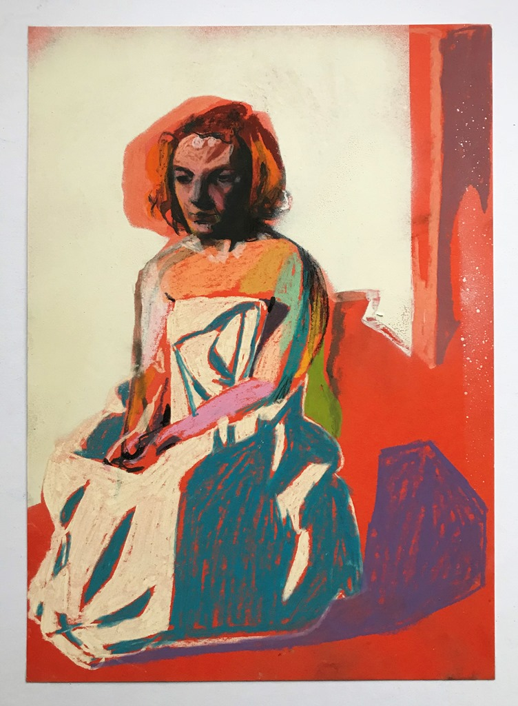 'Nude on orange with white wall', 2018, pastel, ink and spray can on paper, 29.6 x 20.9cm, £425 (framed)  Contact  hester@hesterfinch.com