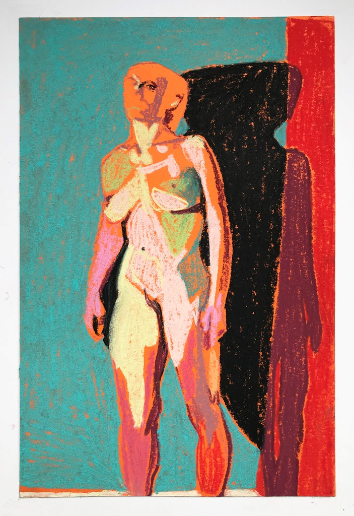 'Standing nude on orange with blue wall', 2018, pastel on paper, 23 x 15cm  Available in store from Liberty's London