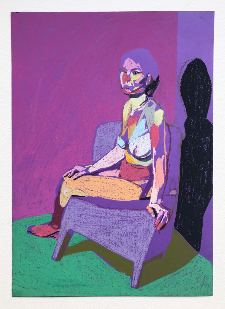 'Nude on purple with green round', 2018, pastel on paper, 29.7 x 21 cm, SOLD