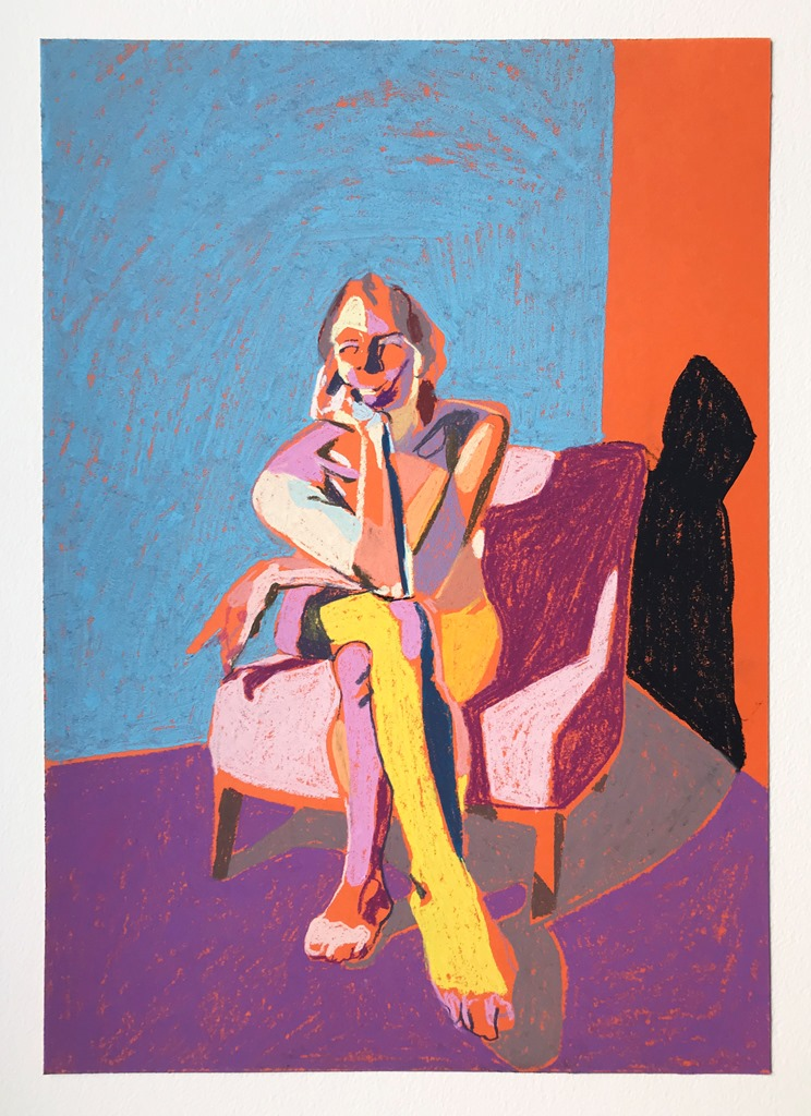 'Nude on orange with purple ground', 2018, pastel on paper, 42 x 29.6 cm, SOLD