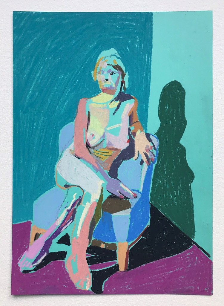 'Nude on turquoise on purple', 2018, pastel on paper, 29.7 x 21 cm, SOLD